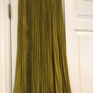 Olive green pleated skirt